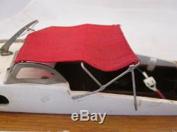 12-1/2 Long Wood Model Boat with Electric Motor Red Fabric Canopy