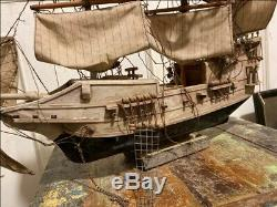 1800's Antique Wooden Hand Crfated Sail Boat Ship Big 21 x 14'' Model