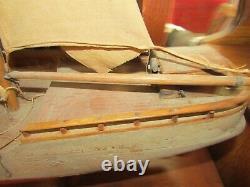 1920's Rare Antique Model Ship Sailing Boat Hand Made Wood X933