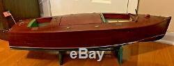 1940's 32 Wooden Chris-Craft Model Boat Bakelite Seats & Engine for Restoration