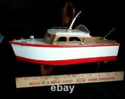 1950's Wooden Model Boat Battery Power Japan Windshield Lights Works! Cruiser