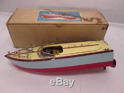 1950s Wood Boat Model Japan MSK Inboard wOriginal Box Yellow and Brown Color
