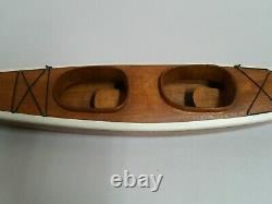 1950s vintage wooden wood KAYAK model boat with stand and oars Handmade