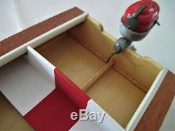 1955 Ideal Barracuda Runabout Wood Model Boat Motor Stand Hand Built
