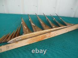 1960's Vintage Large 33 Wood Sailboat Ship Model Ayhan Boat Shop Sinop Turkey