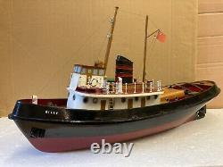 1960s vintage model toy Tug boat billy battery Powered wood construction