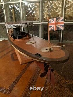 30 STEAM LAUNCH Vintage wood Pond Yacht model ship display boat! African Queen