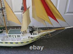 48 X 34 Antique folk art model sail ship boat hand made Nicly Made Signed Hull