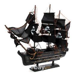 80cm Black Model Pirate Ship Vintage Wood Sailboat Sail Boat, Laser cut