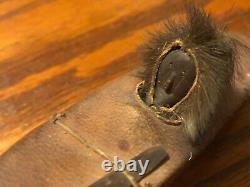 ANTIQUE ALASKA ESKIMO INUIT Wood Face INDIAN HIDE MODEL UMIAK KAYAK BOAT 7