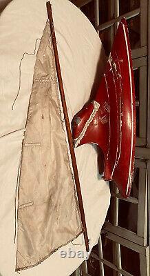ANTIQUE MODEL WOODEN 29 1/2 SAILBOAT / POND BOAT Circa. 1920s