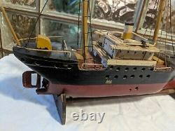 ANTIQUE Primitive SS HOXIE Baltimore STEAM CARGO SHIP MODEL Handmade Wood Boat