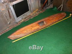 ANTIQUE VINTAGE LARGE WOOD MODEL SHIP HANDMADE MARITIME FOLK ART RC Boat