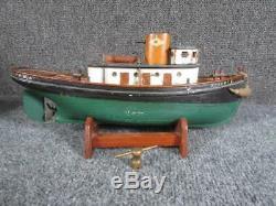 ANTIQUE early 1900s KEY WIND TOY MODEL of wood TUG BOAT ROBERT E, WOODCLIFF, NJ