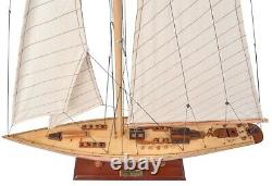 America's Cup Endeavor Yacht Wood Model Sailboat J Boat 24