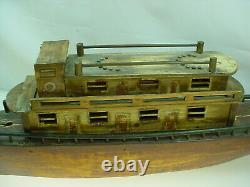 Antique Folk Art Wooden Boat Model Steamer Pond Boat Toy 26 Long