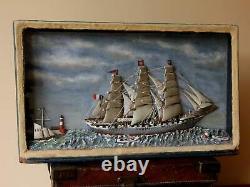 Antique French Ship in a Box Diorama. Handmade Folk Art Model Boat Scratch Built