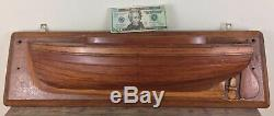 Antique Half Hull Boat Model Hollow Wood Maine Estate 25.25 X 7.5 X 5.5 Inches