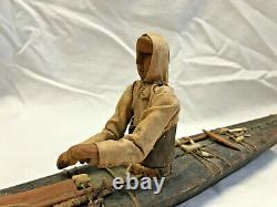 Antique Inuit / Eskimo Handmade Wood Kayak Model with Figure Fisherman Boat