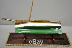 Antique Large Oak Wood Model Sailboat Ship Boat on Base Stand