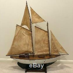 Antique Large Wooden Pond Yacht Boat Model Ship with Sails f