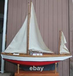 Antique Model Hollow Wood Yacht Sailboat Yawl Ship Pond Boat 48 LONG 4' TALL