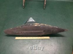 Antique Primitive Wooden Pond Yacht Toy Model Sail Boat