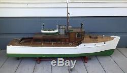 Antique Vintage LARGE 46 Motorized Wooden Model Pond Yacht Boat Steam Ship