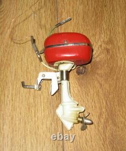 Antique Vtg NBK Japan Wooden Wood Toy Model Boat Outboard Motor Parts Battery