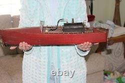 Antique WOODEN MODEL LIVE STEAM BOAT POND YACHT 25 Long