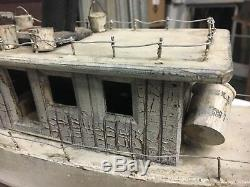 C1930's vintage folk art boat model sea faring ALENE 22 L x 13 h x 5.25 w