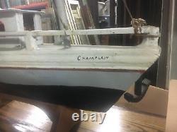 C1940's vintage folk art boat model lake steamer CHAMPLAIN 34 L x 28 H x 8 W