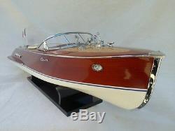 Cedar Wood Riva Tritone 24 Quality Model Boat Cream Seat L60 Christmas Gift