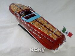 Cedar Wood Riva Tritone 24 Quality Model Boat White-Blue Beautiful Xmas Gift
