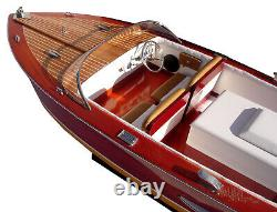 Chris Craft Holiday 1962 Handcrafted Wooden Model Boat Ready To Display