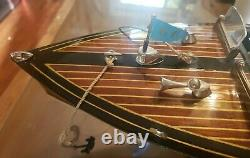 Chris Craft Triple Cockpit Speed Boat 25 Wood Model By Authentic Models