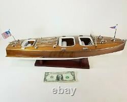 Chris Craft Triple Cockpit Speed Boat Wooden Model 24 Runabout W Display Case