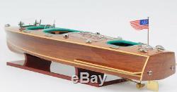 Chris Craft Triple Cockpit Speed Boat Wooden Model 32 Handcrafted Varnished