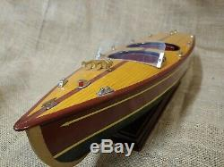 Chris Craft Vintage Wood Model Speed Boat Runabout LARGE 20 Size on Stand