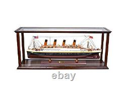 Display Case Wood Table Top Cabinet Acrylic Glass 38.5 Ships And Boats Models