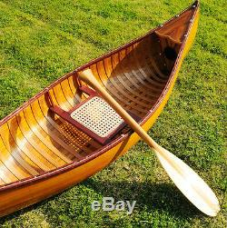 Display Cedar Wood Strip Built Canoe 6' Wooden Model Boat With Ribs New