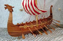 Drakkar Viking Handmade Wooden Model Boat