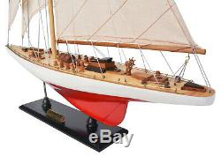 Endeavour L60 Red/White Yacht Wood Model 24 Americas Cup J Class Boat Sailboat