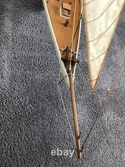 Gorgeous Large VTG Wood Model Sailboat Pond Boat Yacht Schooner Tall Ship 45