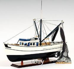 Gulf Shrimp Trawler Louisiana Work Boat Wooden Fishing Model 25 Assembled New