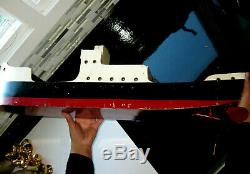 HUGE 31 Antique TRIANG BRITISH MERCHANT Wind Up Clockwork Model Wood Boat Toy