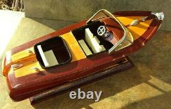 Hand made Classic runabout WOOD BOAT MODEL with metal fittings 13 Long