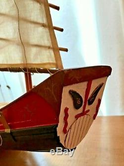 Handcrafted Detailed Wood Chinese Junk Boat Model 34 x 26
