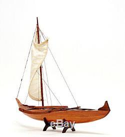 Hawaiian Outrigger Canoe Wooden Model 25 Waikiki Traditional Sailing Boat New