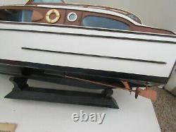 Huge Vintage Ship Boat Wood Wooden Sterling Model Kit Built Chris Craft Corvette